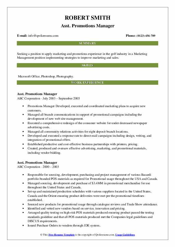 promotions manager resume samples