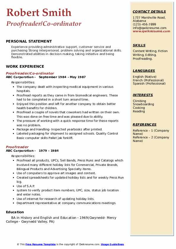 proofreader resume samples  qwikresume