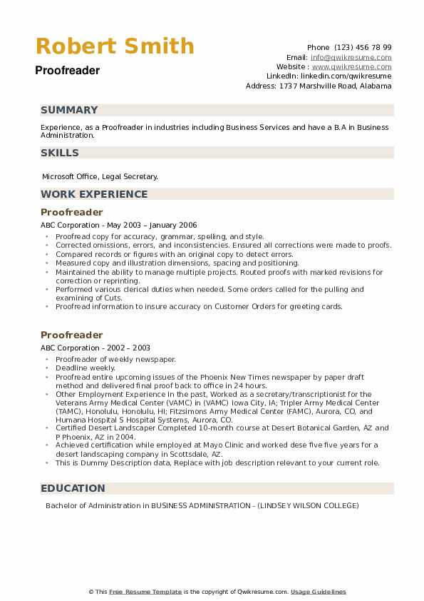 Proofreader Resume example