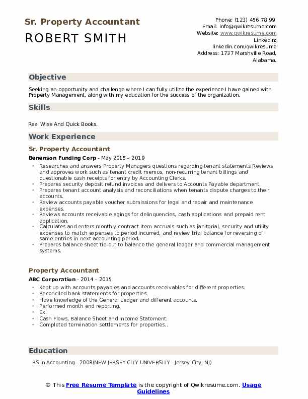 Sr. Property Accountant Resume Model