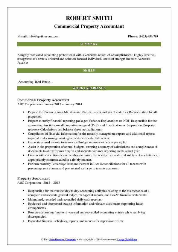 Commercial Property Accountant Resume Format