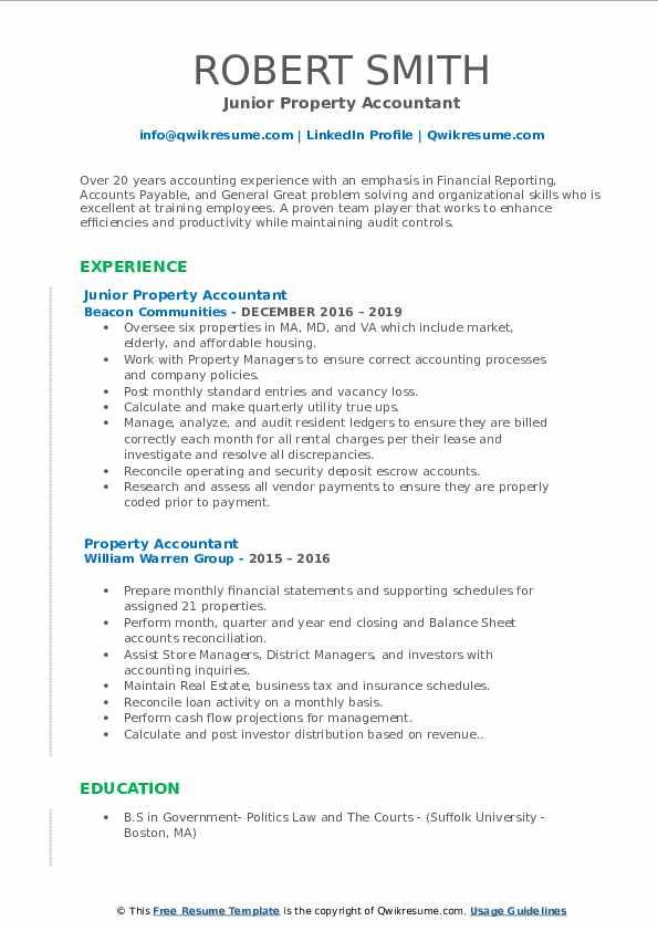 Junior Property Accountant Resume Format