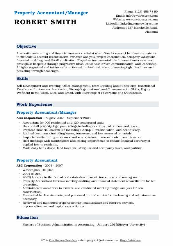 Property Accountant/Manager Resume Template