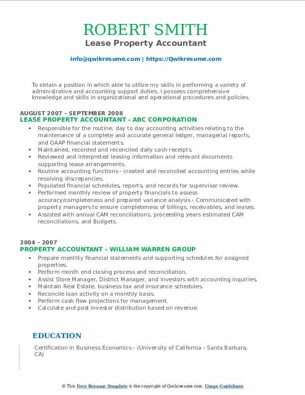 Lease Property Accountant Resume Model