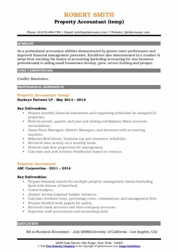 Property Accountant (temp) Resume Format