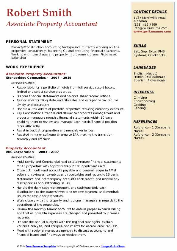 property accountant resume samples