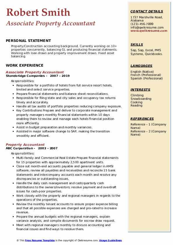 Associate Property Accountant Resume Sample