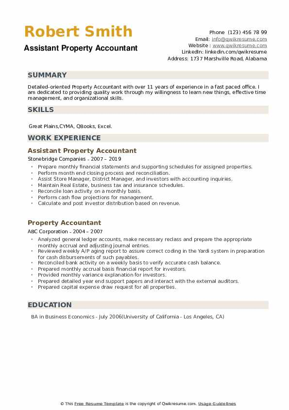Assistant Property Accountant Resume Template