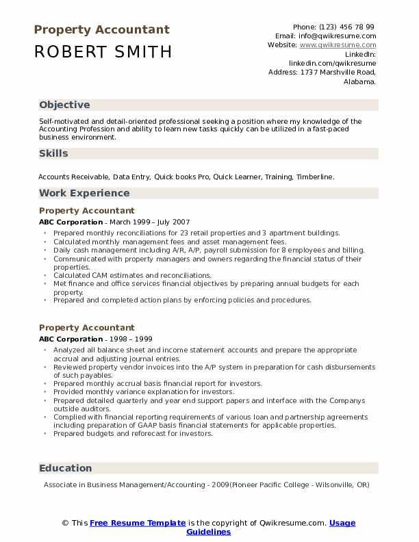 Property Accountant Resume Samples | QwikResume