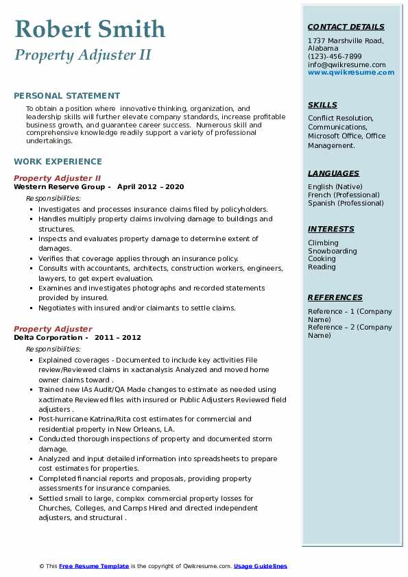 Property Adjuster Resume Samples | QwikResume