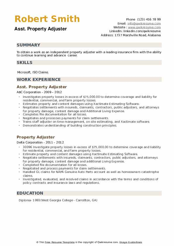 Property Adjuster Resume example