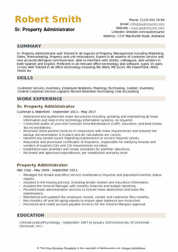 Property Administrator Resume example
