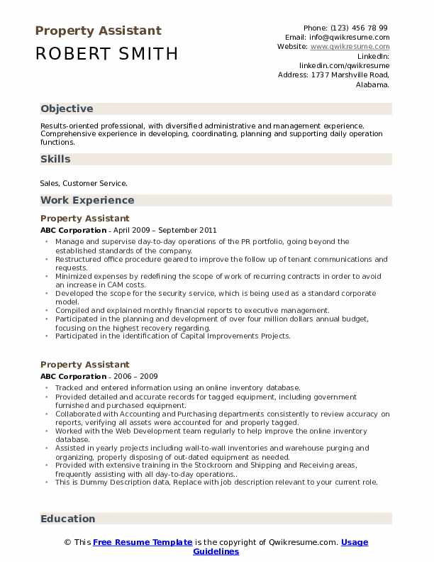 Property Assistant Resume example