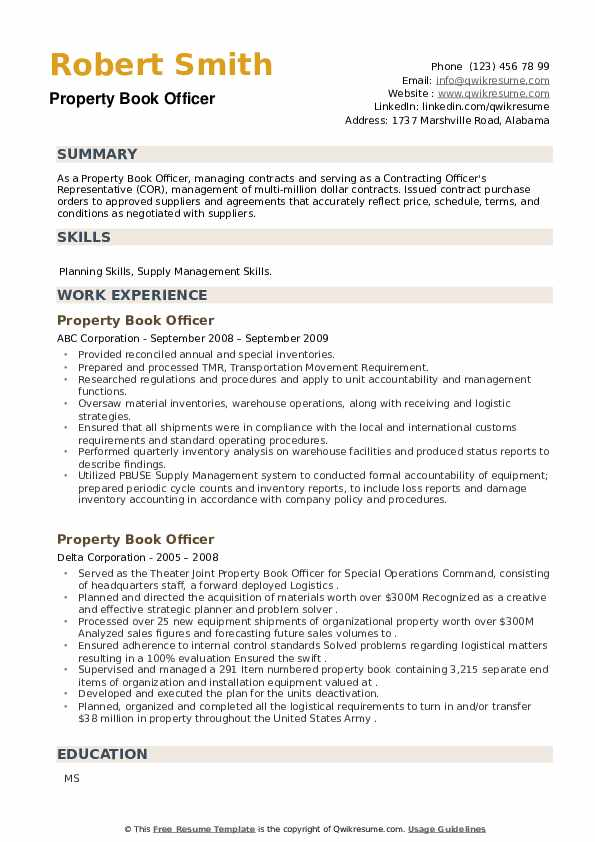 Property Book Officer Resume example
