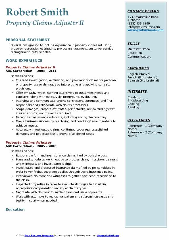 property claims adjuster resume samples