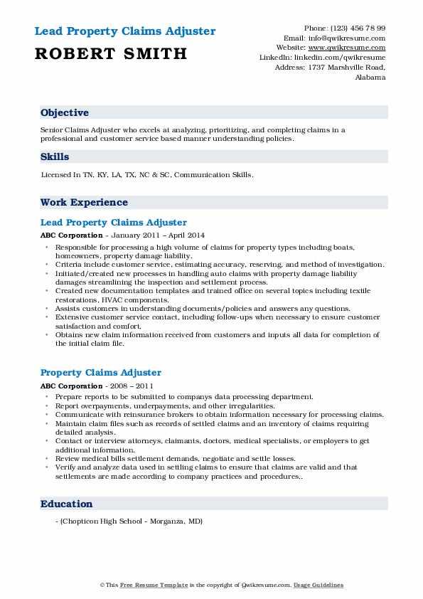 Property Claims Adjuster Resume Samples Qwikresume