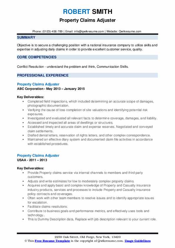 Property Claims Adjuster Resume example