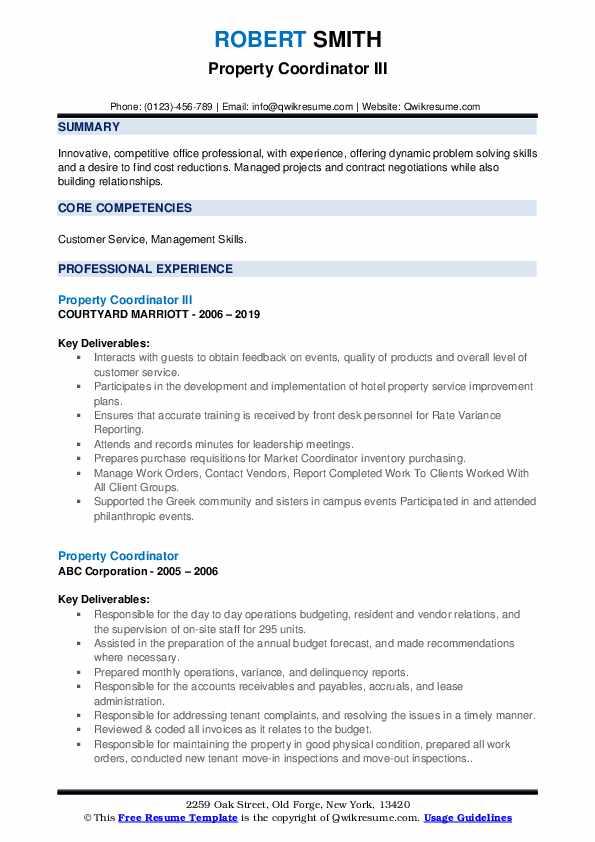 property coordinator resume samples  qwikresume