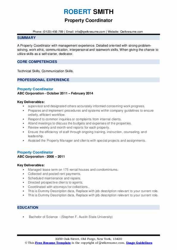 Property Coordinator Resume example