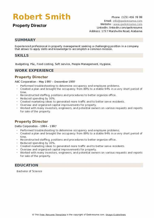 Property Director Resume example