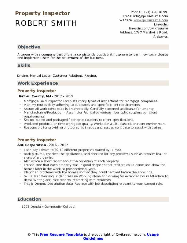 Property Inspector Resume example