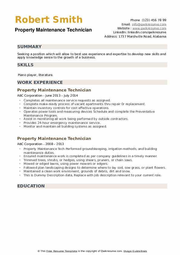 property maintenance technician resume samples  qwikresume