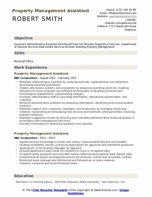 Property Management Assistant Resume Example
