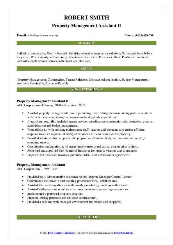 Property Management Assistant II Resume Model