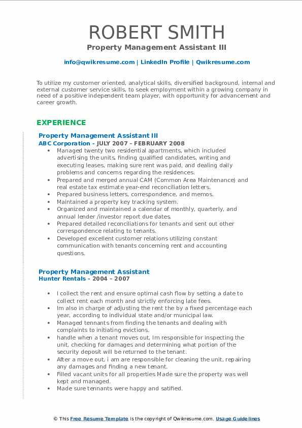 Property Management Assistant III Resume Template
