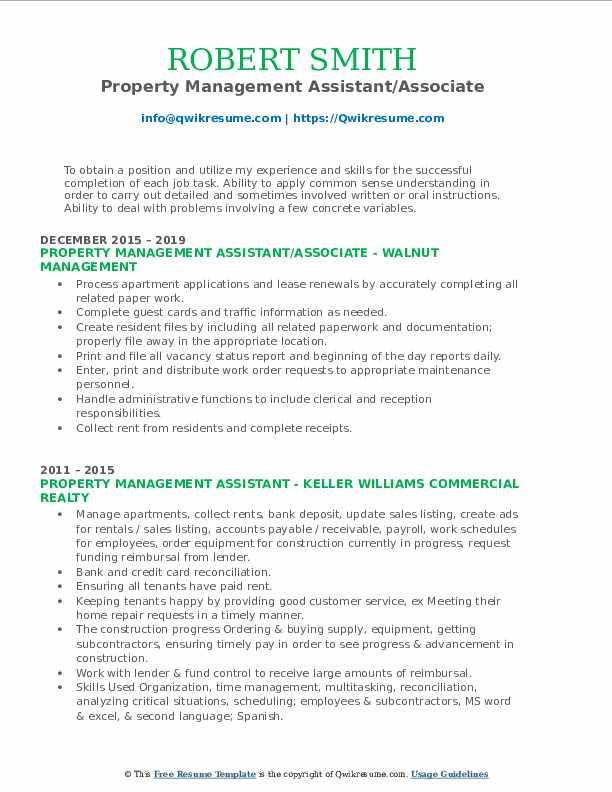 Property Management Assistant/Associate Resume Model