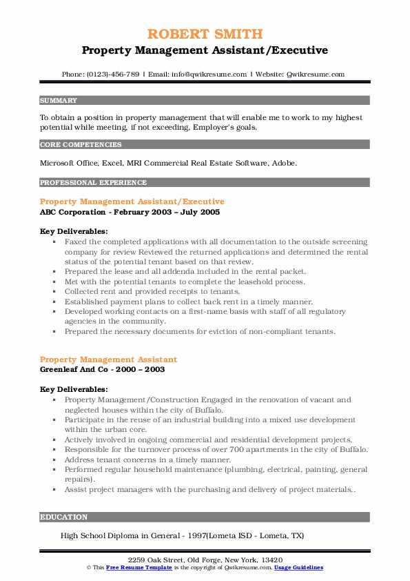 Property Management Assistant/Executive Resume Template
