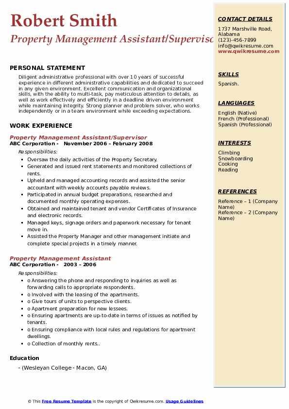 Property Management Assistant/Supervisor Resume Format