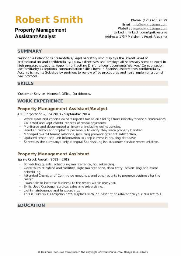 Property Management Assistant/Analyst Resume Template