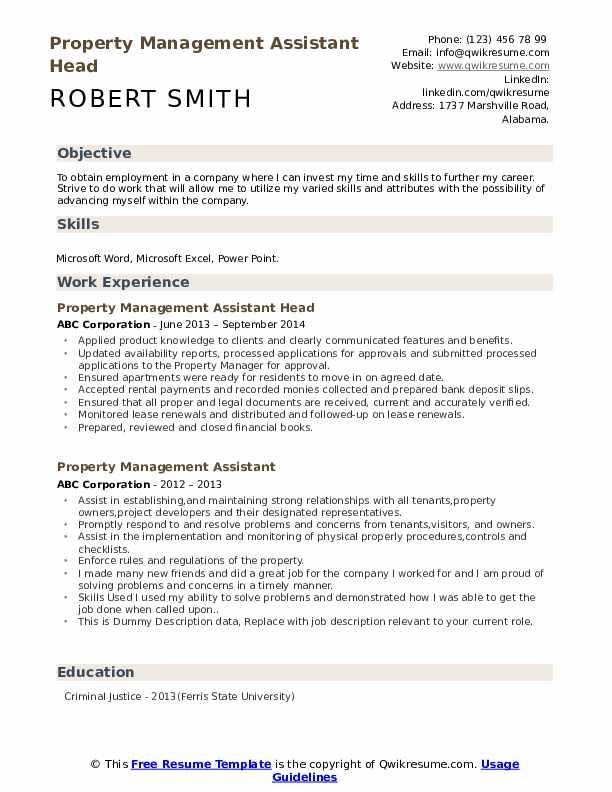 Property Management Assistant Head Resume Sample