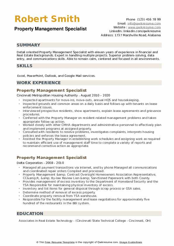 Property Management Specialist Resume example