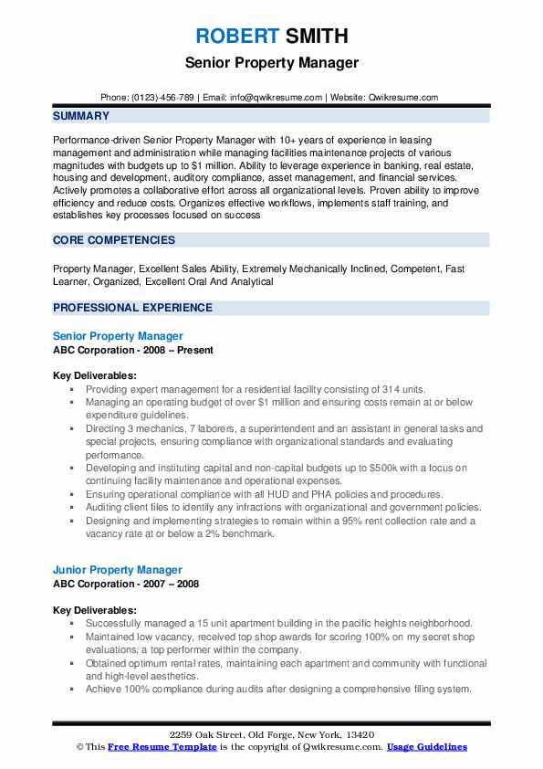 Senior Property Manager Resume Template