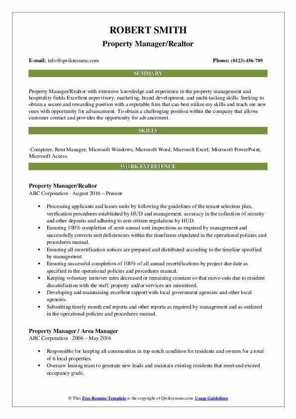 Property Manager/Realtor Resume Model