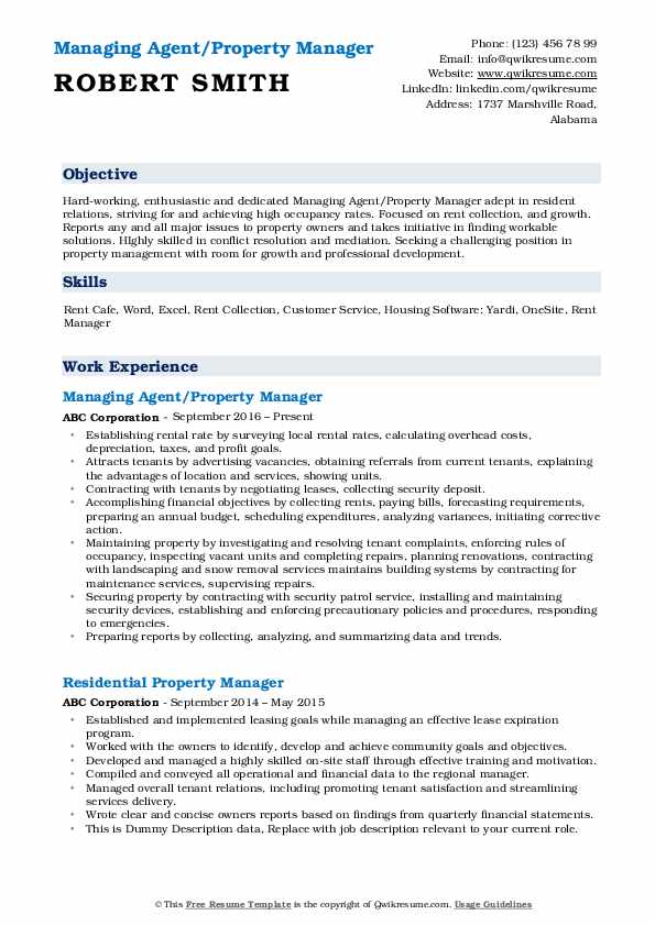 Managing Agent/Property Manager Resume Example