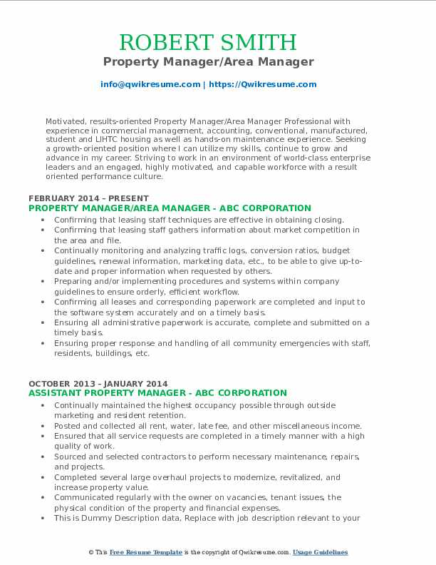 Property Manager/Area Manager Resume Template