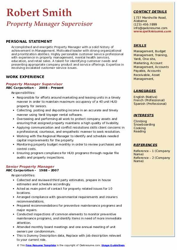 Property Manager Resume Samples | QwikResume