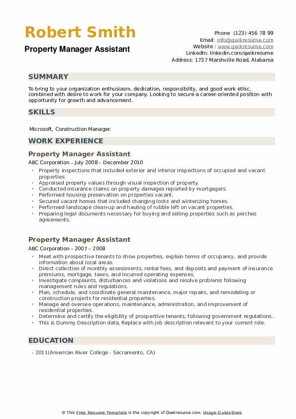 Property Manager Assistant Resume example