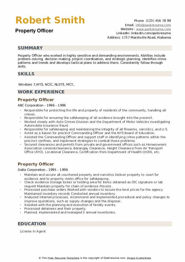 Property Officer Resume example