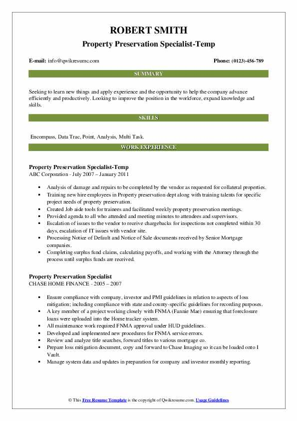 Property Preservation Specialist-Temp Resume Format