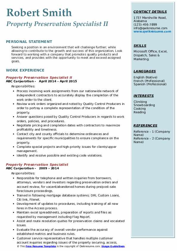 Property Preservation Specialist II Resume Template