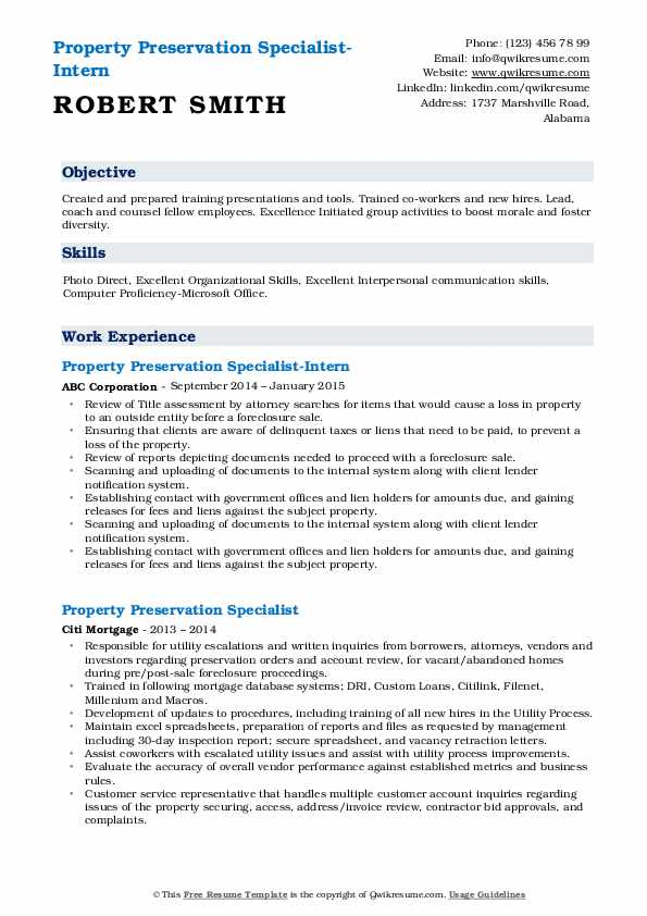 Property Preservation Specialist-Intern Resume Example