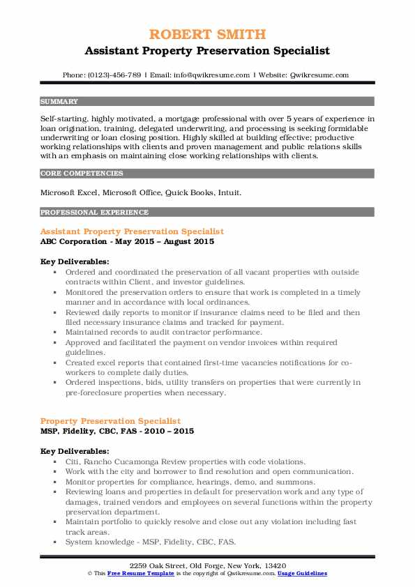 Assistant Property Preservation Specialist Resume Example