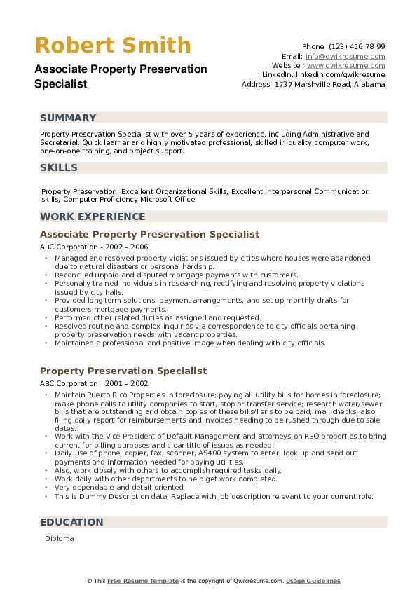 Associate Property Preservation Specialist Resume Format