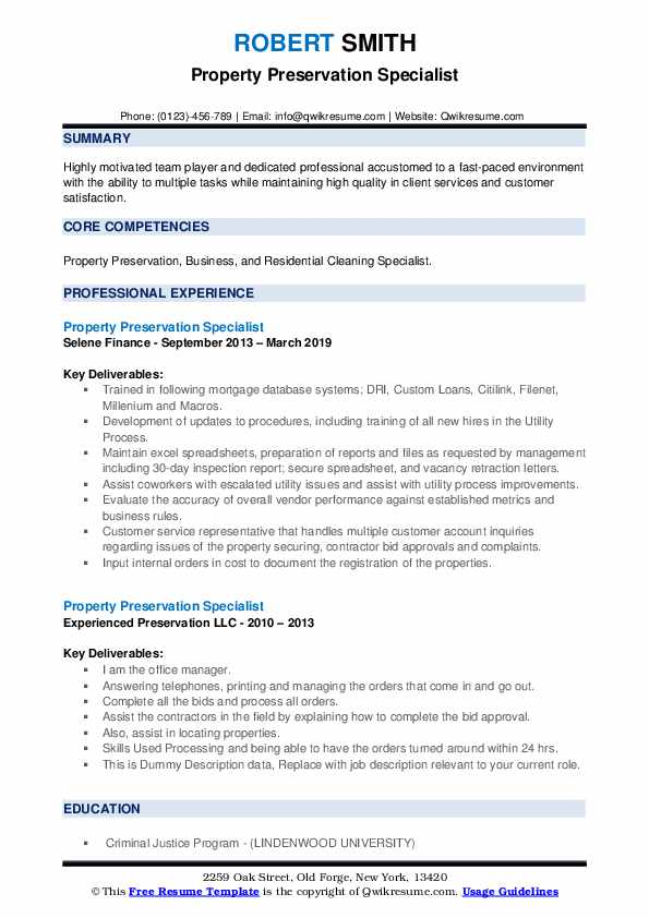 Property Preservation Specialist Resume example