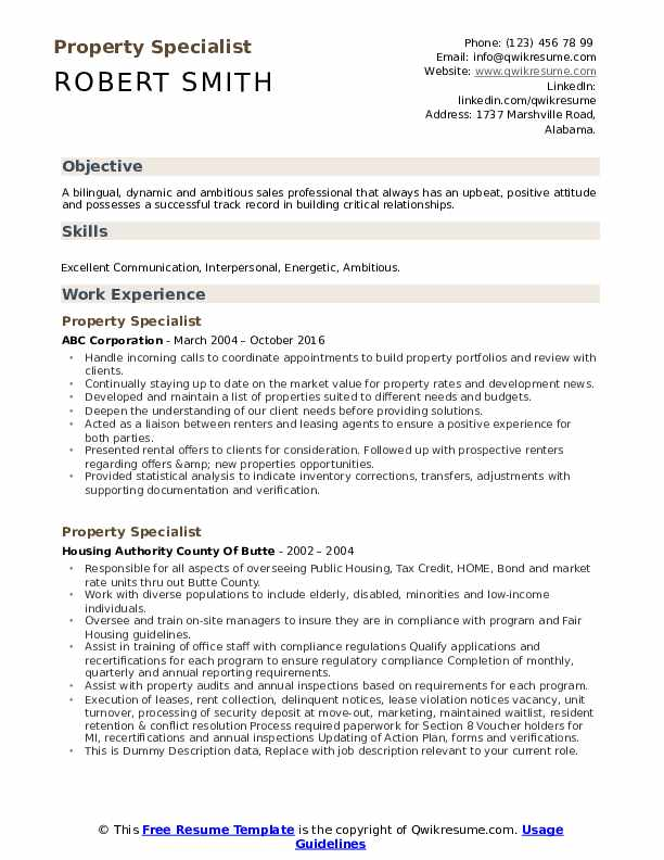 Property Specialist Resume example