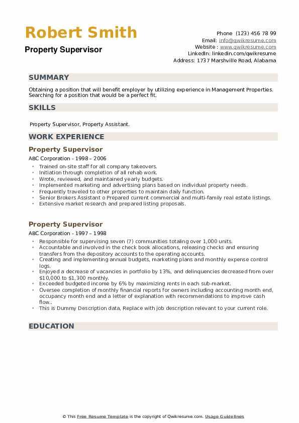 Property Supervisor Resume example